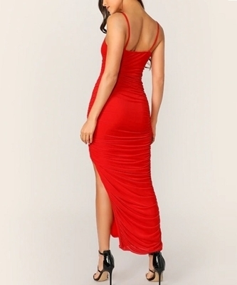Picture of Bright Asymmetrical Fitted Ruched Occasion Dress