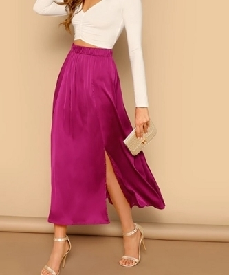 Picture of Hot Pink Split Hem Solid Satin Feel Skirt