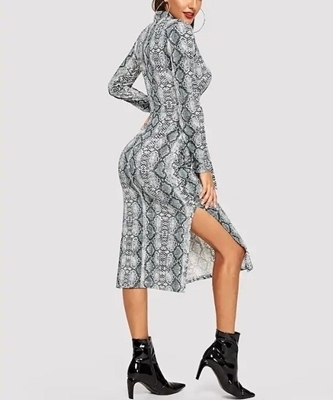 Picture of Snakeskin knot Front Split Dress