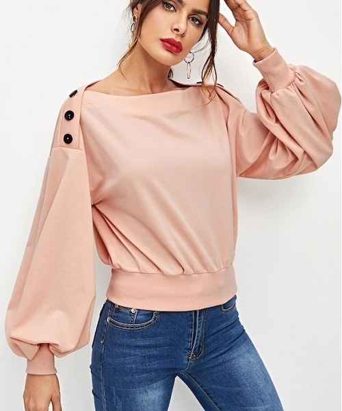 Picture of Crop Button Detail Lantern Sleeve Top