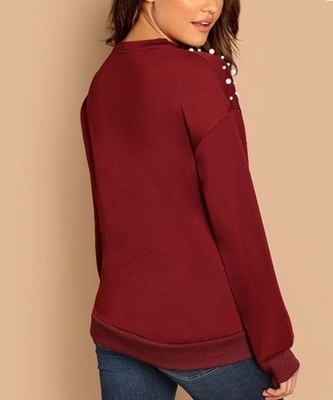 Picture of Pearl Beaded V-Cut Choker Neck Pullover