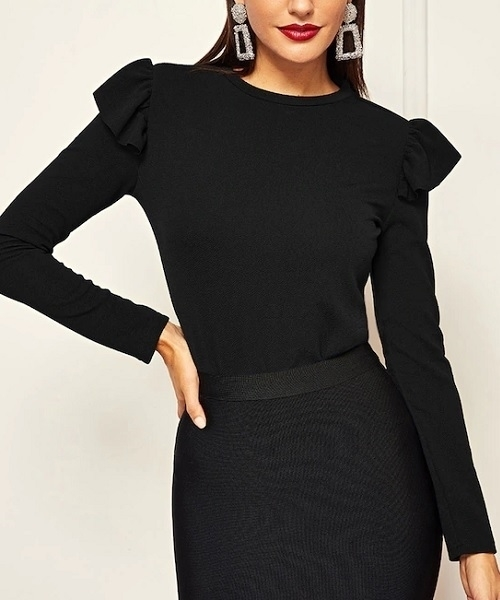Picture of Ruffle Trim Solid Long Sleeve Tee