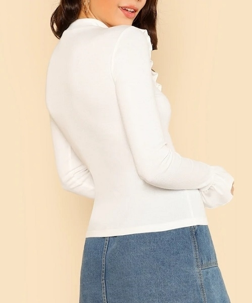 Picture of Ribbed Knit Ruffle Trim Long Sleeve Tee