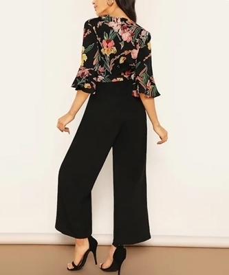 Picture of Floral Wrap Bodice Wide Leg Jumpsuit