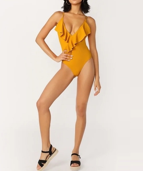Picture of Ruffle Deep V One Piece Swimsuit