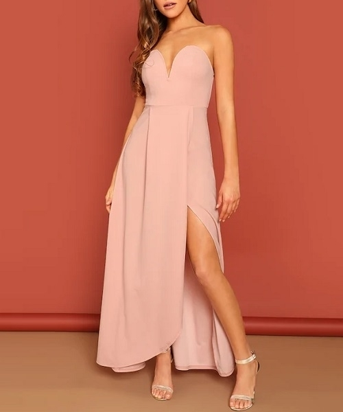 Picture of Bandeau Off Shoulder Split Solid Evening Dress