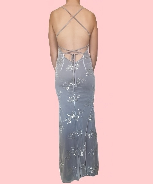 Picture of Sequined Backless Plunge Evening Gown