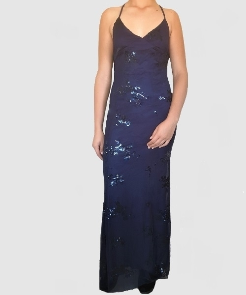 Picture of Sequined Backless Plunge Evening Gown - Navy