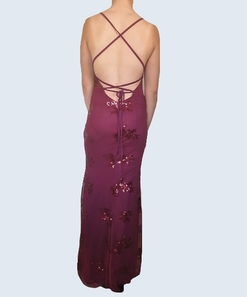 Picture of Sequined Backless Plunge Evening Gown - Wine Red