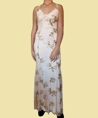 Picture of Sequined Backless Plunge Evening Gown - Gold