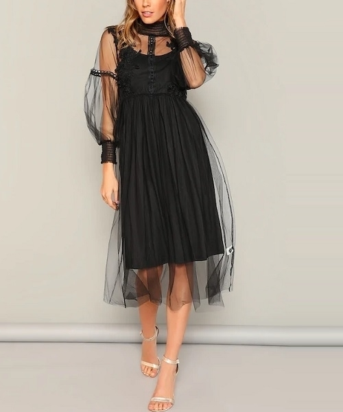 Picture of High Neck Flower Applique Mesh Overlay Dress