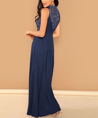 Picture of Lace Top Flowy Formal Maxi Occasion Dress