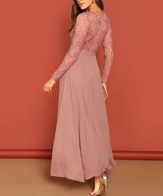 Picture of Sheer Lace Top Tie Waist Maxi Formal Dress