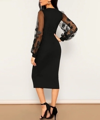 Picture of Embroidery Bishop Sleeve Fitted Cocktail Dress