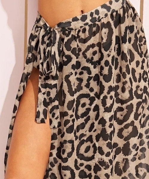 Picture of Leopard Print Split Thigh Knot Beach Skirt