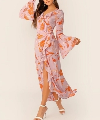 Picture of Ruffle Knot Side Floral Print Wrap Summer Maxi Dress