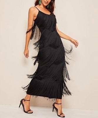 Picture of Fringe Layered Cami Maxi Occasion Dress