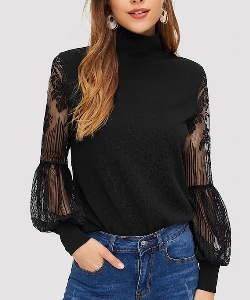 Picture of High Neck Lace Lantern Sleeve Top