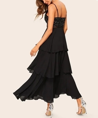 Picture of Layered Ruffle Rhinestone Cami Long Formal Dress