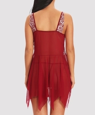 Picture of Asymmetrical Embroidery Babydoll Lingerie