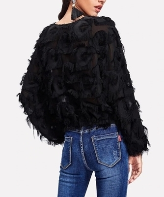 Picture of Fringe Patch Mesh Crop Top
