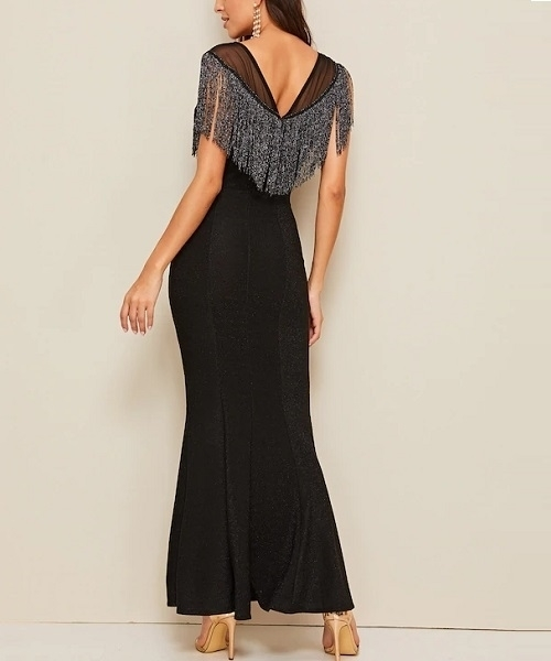 Picture of Fringe Contrast Mesh Mermaid Maxi Evening Dress