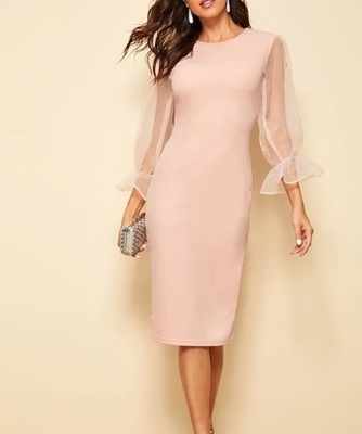 Picture of Sheer Sleeve Solid Pencil Cocktail Dress