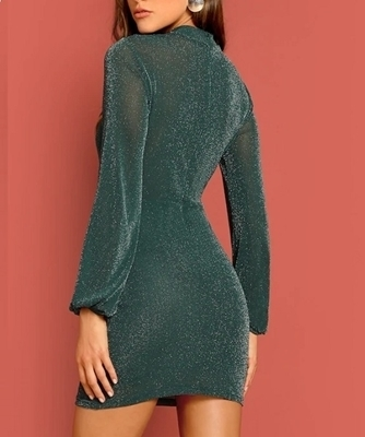 Picture of Glitter Sheer Mock-neck Cocktail Dress