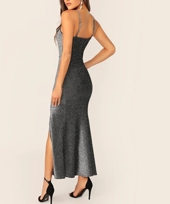 Picture of Slit Front Glitter Cami Evening Dress