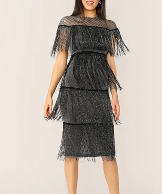 Picture of Fringe Fishnet Layered Glitter Cocktail Dress