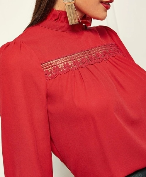 Picture of Frill Neck Insert Guipure Lace Panel Top
