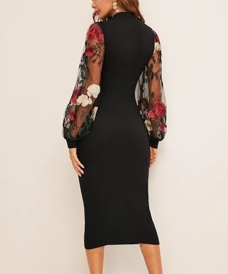 Picture of Flower Embroidered Mesh Sleeve Midi Cocktail Dress