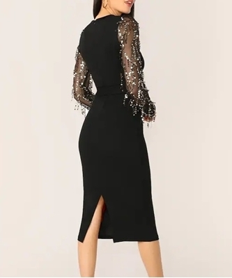 Picture of Sequin Fringe Mesh Sleeve Split Back Dress