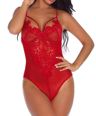 Picture of Floral Lace Harness Teddy Lingerie
