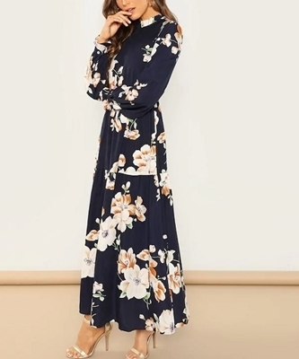 Picture of Floral Frill Neck Maxi Dress