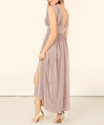 Picture of Plunging Neck M-Slit Glitter Evening Dress