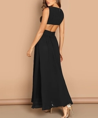 Picture of Plunging Cut-Out Crisscross Bodice Occasion Dress