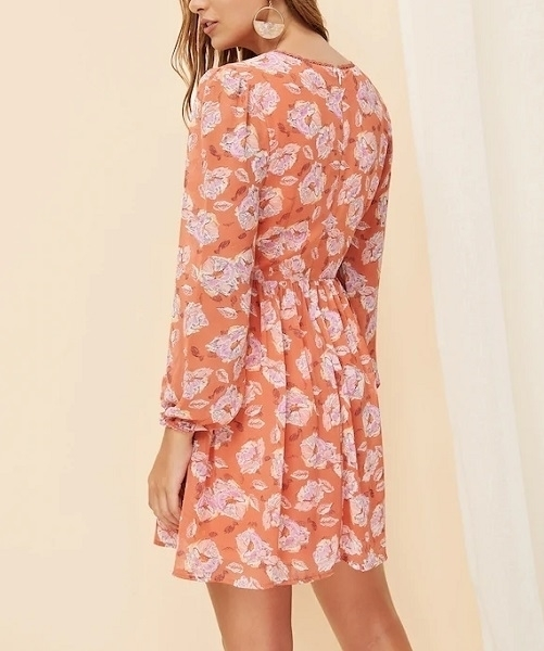 Picture of Floral Lantern Sleeve Wide Waist Dress