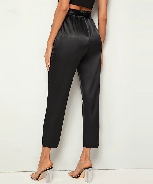 Picture of Satin Feel Paperbag Waist Self Belted Carrot Pants