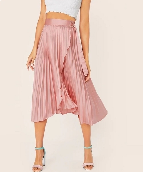 Picture of Satin D-ring Belted Wrap Pleated Skirt
