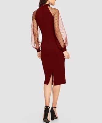 Picture of Jacquard Mesh Raglan Sleeve Pencil Cocktail Dress