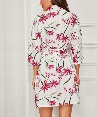 Picture of Floral Print Self Belted Robe