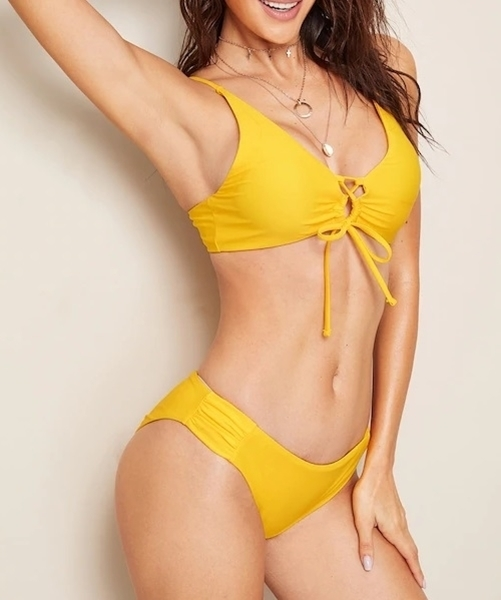 Picture of Lace-Up Front Top With Ruched Bikini Set