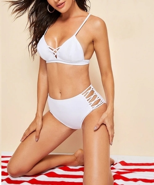 Picture of Lattice Top With High Waist Bikini Set