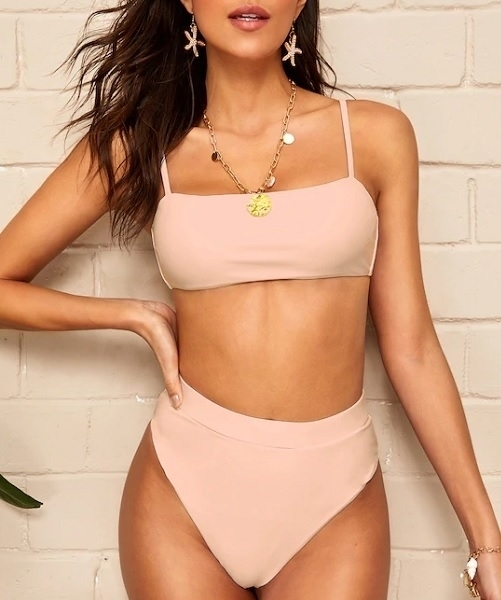 Picture of Pink Pastel Spaghetti Strap High Waist Bikini Set