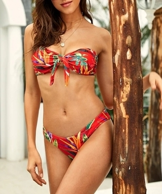 Picture of Tropical Strapless High Leg Bikini Set