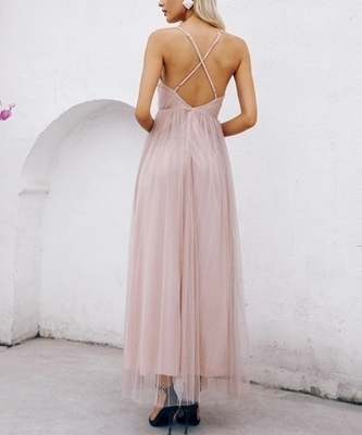 Picture of Criss-cross Backless Split Mesh Slip Occasion Dress