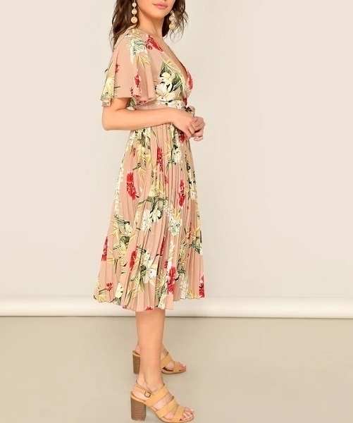 Picture of Floral Wrap Pleated Tea Dress