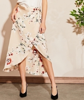 Picture of Satin Floral Wrap Midi Skirt Women