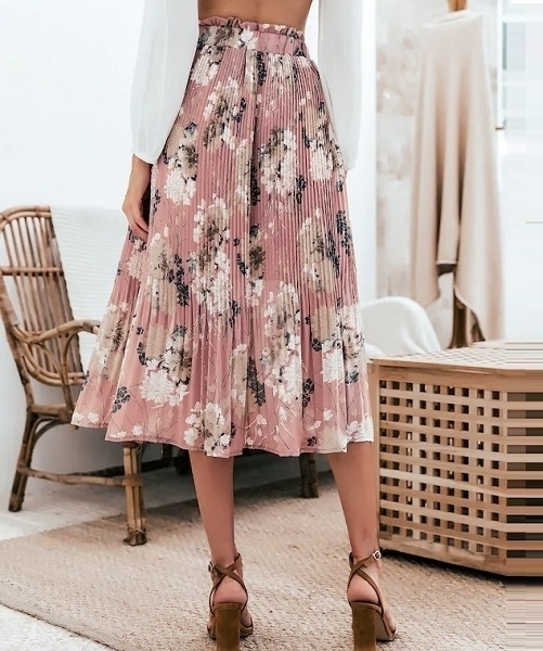 Picture of Floral Ruffle Print Pleated Skirt